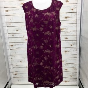 Connected Apparel floral lace overlay sheath 16W